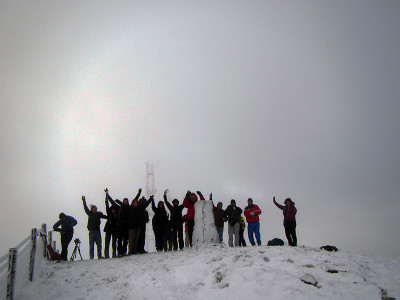 The gang on the summit of Mullaghcarn at 542 meters!