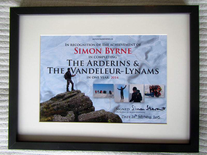 This one, framed and awarded for completing the Arderins and Vandeleur-Lynams in One Year!