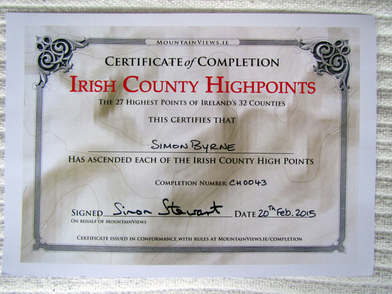 My Certificate from completing the Irish County Highpoints Summit list. (27 Summits)