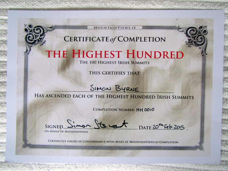 My Certificate from completing the 100 Highest Irish Summits list.