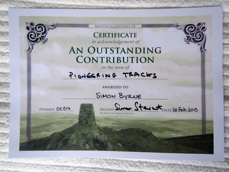 "My certificate for ""An Outstanding Contribution"" award. For all my GPS tracks uploaded."