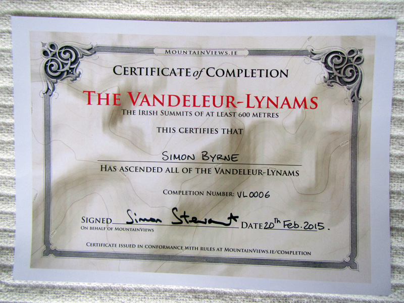My Certificate from completing the Vandeleur-Lynams list. (269 Summits)